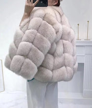 Load image into Gallery viewer, Fox Fur Panel Mid Lenght Fur Coat - Beyazura.com