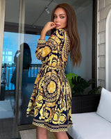 Gold Print Short Dress - Beyazura.com