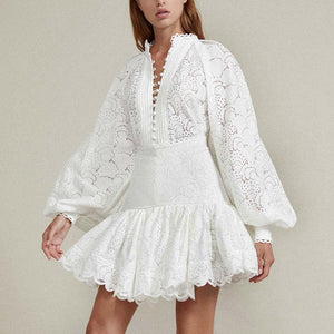 High Waisted Ruffle Skirt and Button Down Lace Shirt Two Piece Set - BEYAZURA.COM