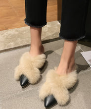 Load image into Gallery viewer, Black Covered Toe Natural Fur Mules - BEYAZURA.COM