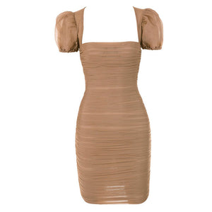 Mini Ruched Puff Sleeve Dress - BEYAZURA.COM