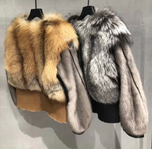 Genuine Fox Fur And Mink Thick Sheepskin Coat - Beyazura.com