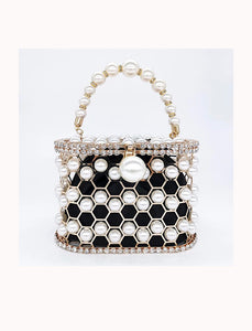 Pearled and Crystallized Cage Handle Clutch