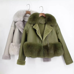 Fox Fur Collar And Waist Sheepskin Leather Coat - BEYAZURA.COM