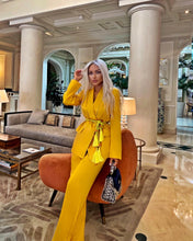 Load image into Gallery viewer, Satin Robe Jacket And Wide Leg Trouser Two Piece Set in Yellow - BEYAZURA.COM