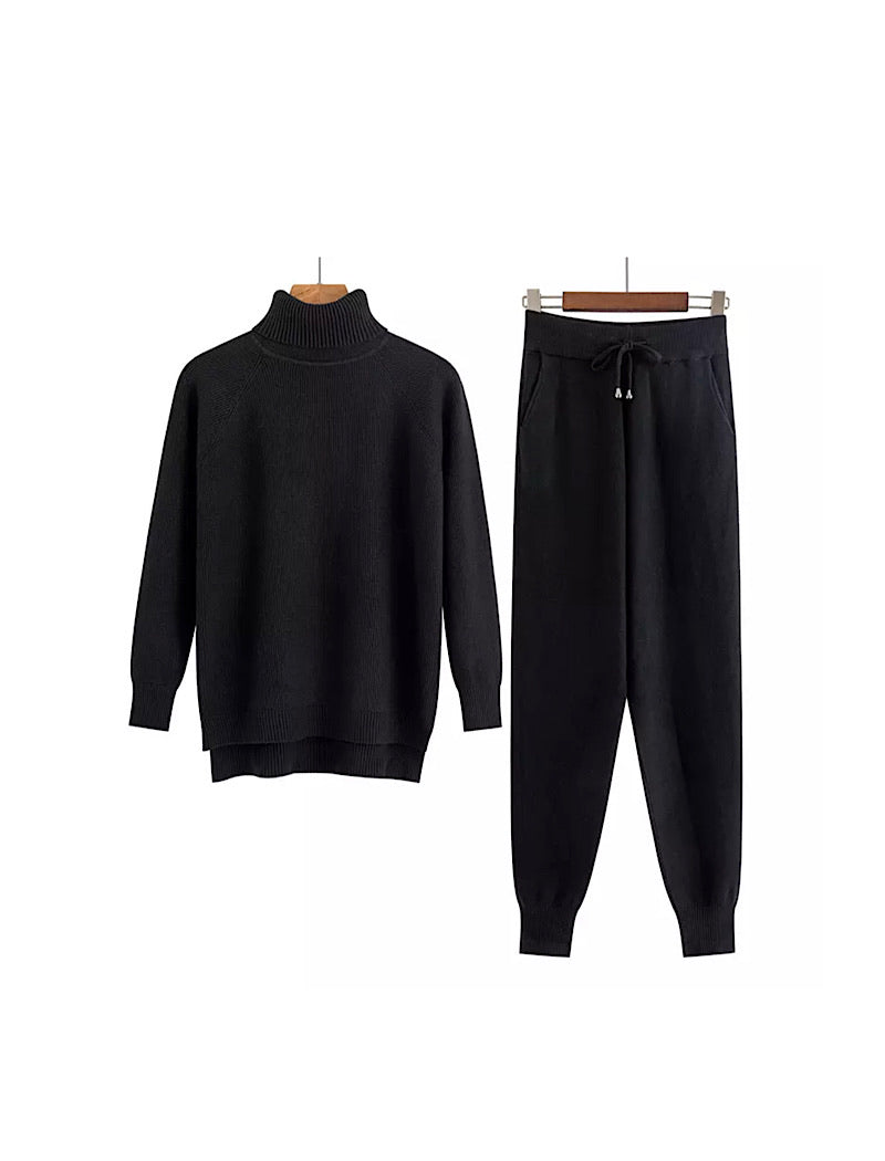Black Turtleneck Ribbed Long Sleeve Top and Jogging Pant Coord Set - BEYAZURA.COM