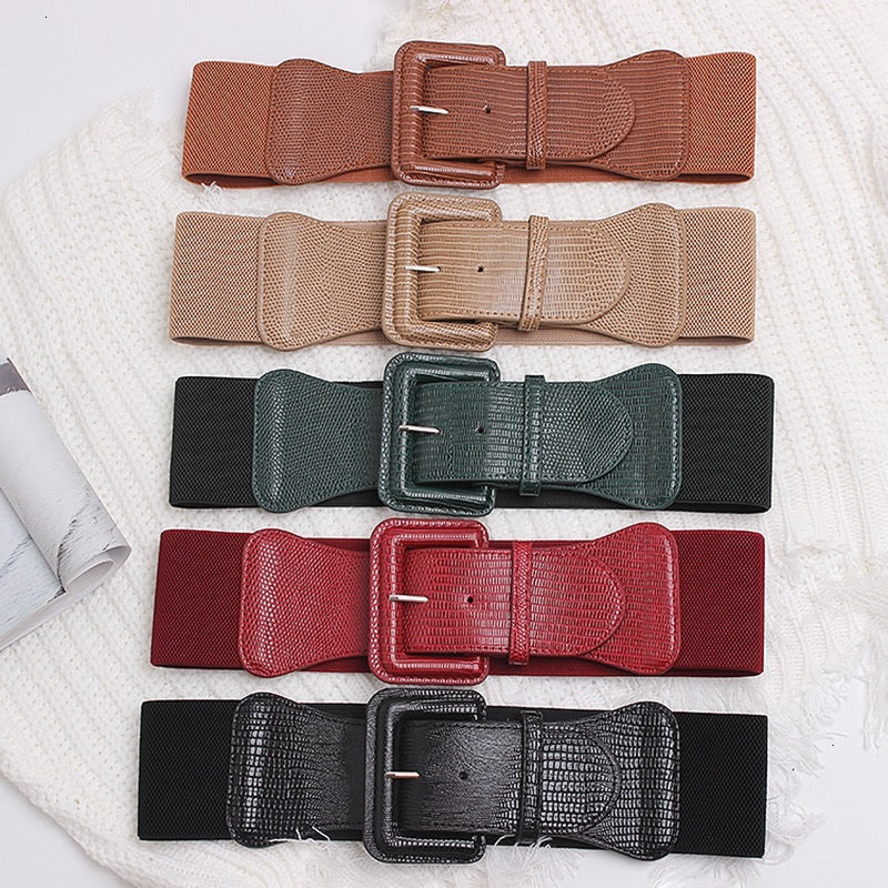 Vegan Leather Elastic Back Wide Buckle Belt - BEYAZURA.COM