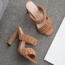 Load image into Gallery viewer, Open Toe Thick Block Heel Mules - Beyazura.com