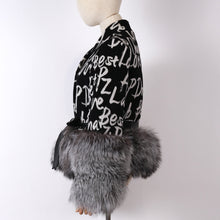 Load image into Gallery viewer, Cashmere Logo Jacket with Dusty Black Fox Fur Trim Leather Waist Tie - BEYAZURA.COM