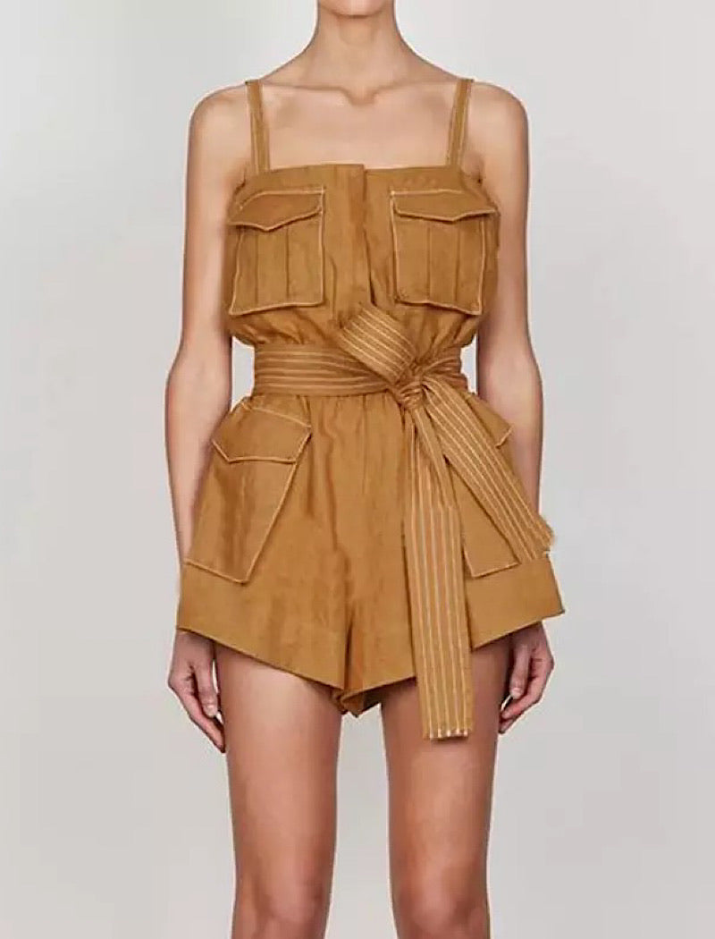 Brown Square Collar Spaghetti Strap Romper
