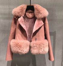 Load image into Gallery viewer, Fox Fur Collar And Waist Sheepskin Leather Coat - Beyazura.com