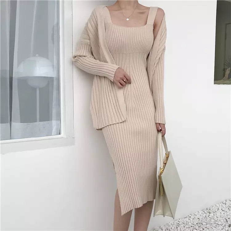 Ribbed Knit Midi Dress And Long Sleeve Sweater Robe Two Piece Set - BEYAZURA.COM