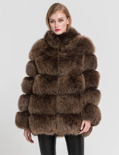 Five Panel Striped Fox Fur Coat - BEYAZURA.COM