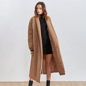 Loose Fit Long Coat - BEYAZURA.COM