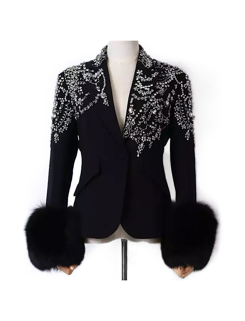 Fox Sleeve Crystal Decorated Black Blazer - BEYAZURA.COM