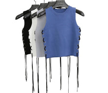 Load image into Gallery viewer, Side Laced Cropped Knit Top - BEYAZURA.COM