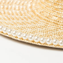 Load image into Gallery viewer, Lux Straw Hat With Pearl Wide Brim - BEYAZURA.COM