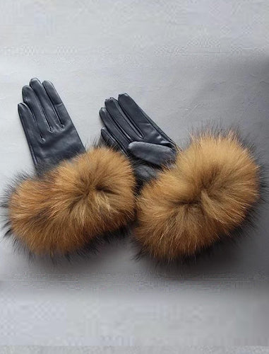 Raccoon Fur Sheepskin Leather Gloves - BEYAZURA.COM