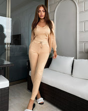Load image into Gallery viewer, Ribbed Knit Pastel Camisole Cardigan Pants Three Piece Set in Beige - BEYAZURA.COM