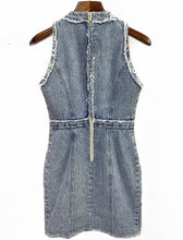 Load image into Gallery viewer, Denim Raw Edge Gold Detailed Sleeveless Dress