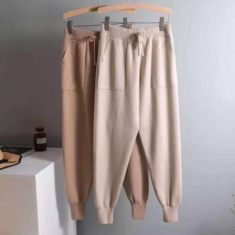 LUX RIBBED KNIT COTTON PANTS - BEYAZURA.COM