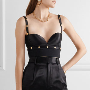 Satin Cropped Gold Buttoned Bra Top - BEYAZURA.COM