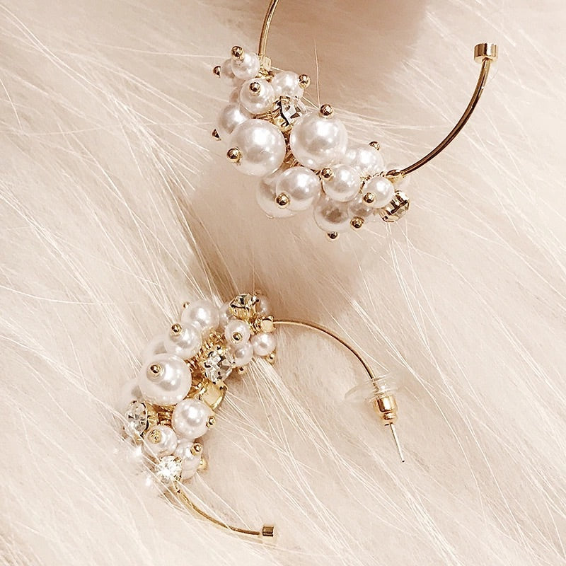 Little Pearls Hoop Earrings - BEYAZURA.COM