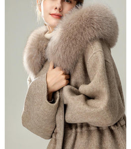 Genuine Fox Fur Hooded Double Sided Alpaca Cashmere Wool Coat - BEYAZURA.COM