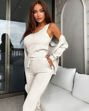 Load image into Gallery viewer, Ribbed Knit Pastel Camisole Cardigan Pants Three Piece Set in Ivory - BEYAZURA.COM