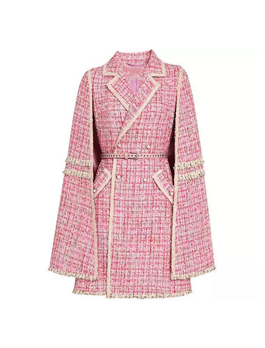 Pink Tweed Cape Belted Coat - Beyazura.com