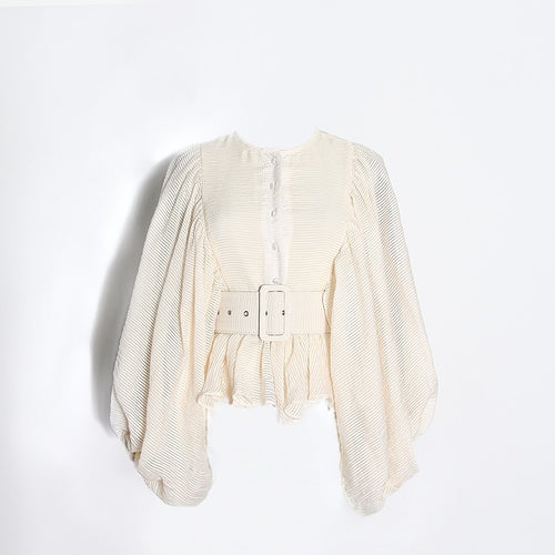 Beige Loose Sleeve Belted Button Down Top - Beyazura.com