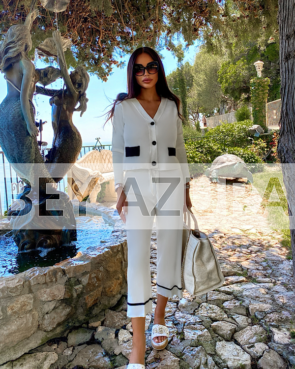 White Knit Button Down Cardigan And Wide Leg Cropped Trouser Co Ord Set - Beyazura.com