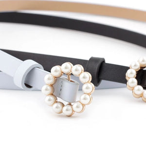 Vegan Leather Mini Round Pearl Golden Buckle - Beyazura.com