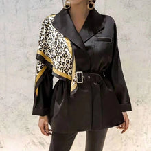 Load image into Gallery viewer, Leopard Print Shoulder Belted Windbreaker Jacket - Beyazura.com