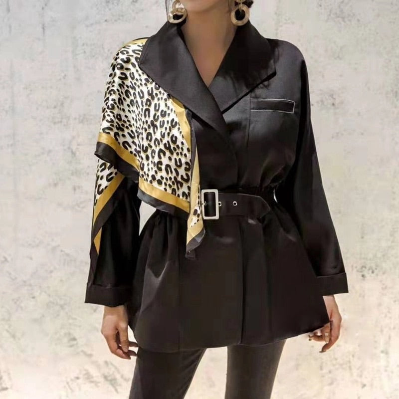 Leopard Print Shoulder Belted Windbreaker Jacket - Beyazura.com