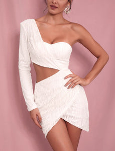 White One Shoulder Cut Out Beaded Party Dress