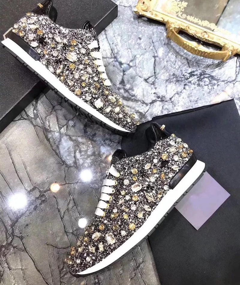 Luxury Glam Crystallized Sparkly Sneakers - BEYAZURA.COM