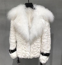 Load image into Gallery viewer, Mongalian Lamb Fur Sheepskin Leather Belted Coat - Beyazura.com