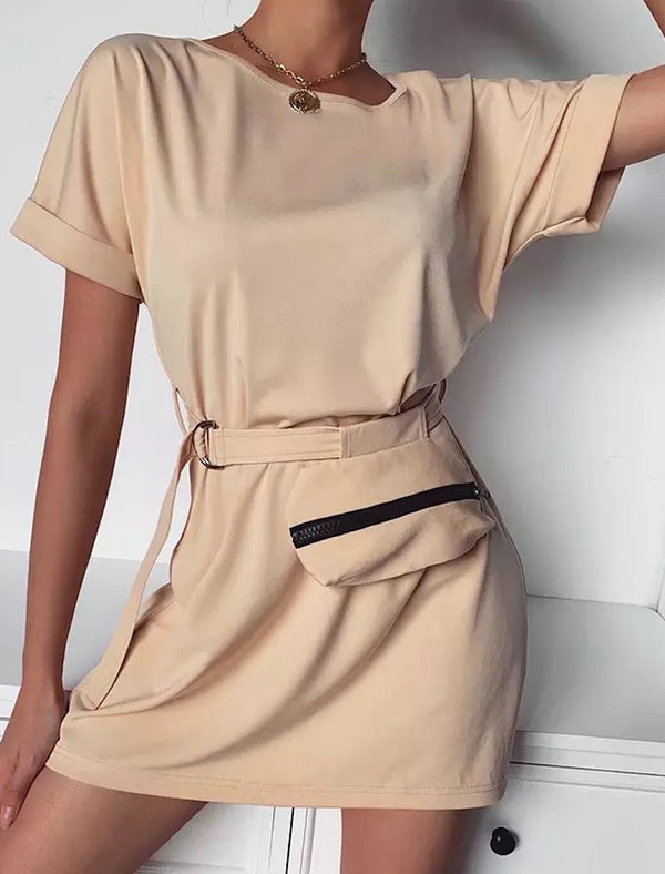 Basic Short Sleeve Tunic With Waist Bag - Beyazura.com