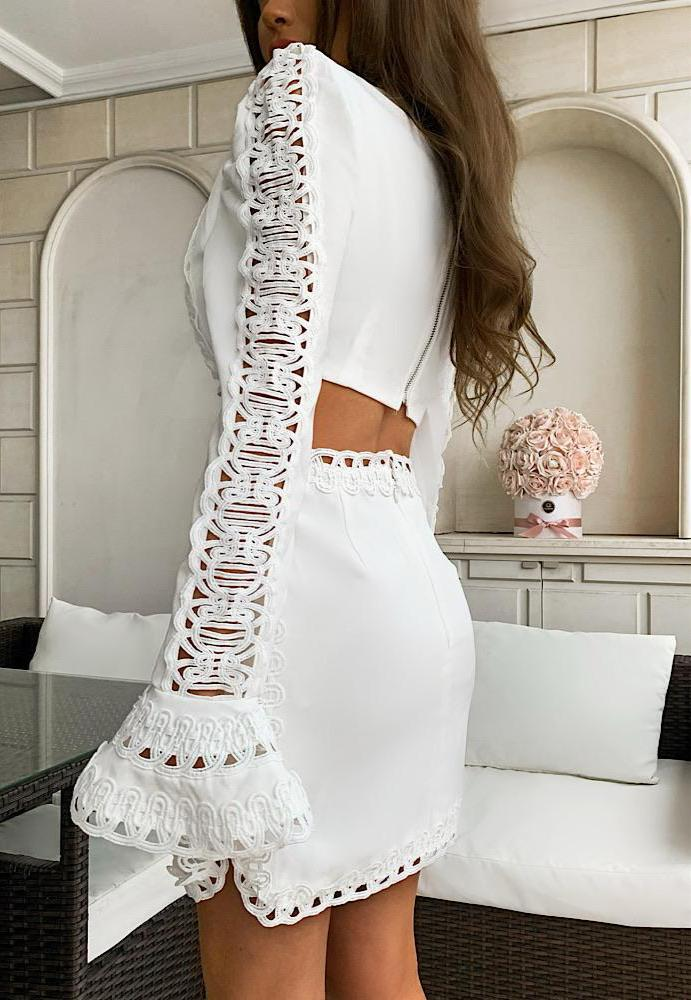 Lace Cut Out Mini Embroidered Dress - BEYAZURA.COM