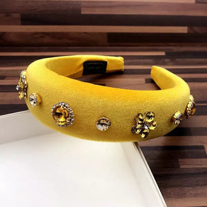 Super Lux Yellow Crystal Bead Headbands - BEYAZURA.COM