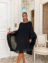 Load image into Gallery viewer, Black Oversized Chiffon Midi Dress