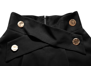 Black High Waisted Ruched Gold Button Shorts - BEYAZURA.COM