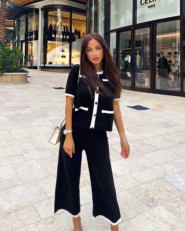 Black Rib Knit Short Sleeve Cardigan And Wide Leg Cropped Pants Two Piece Set - Beyazura.com
