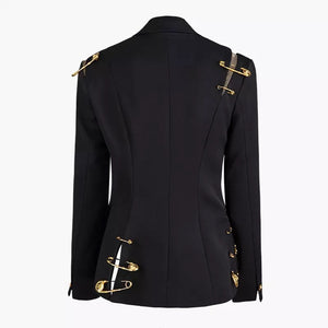 Black Blazer With Golden Safety Pin Trims - BEYAZURA.COM