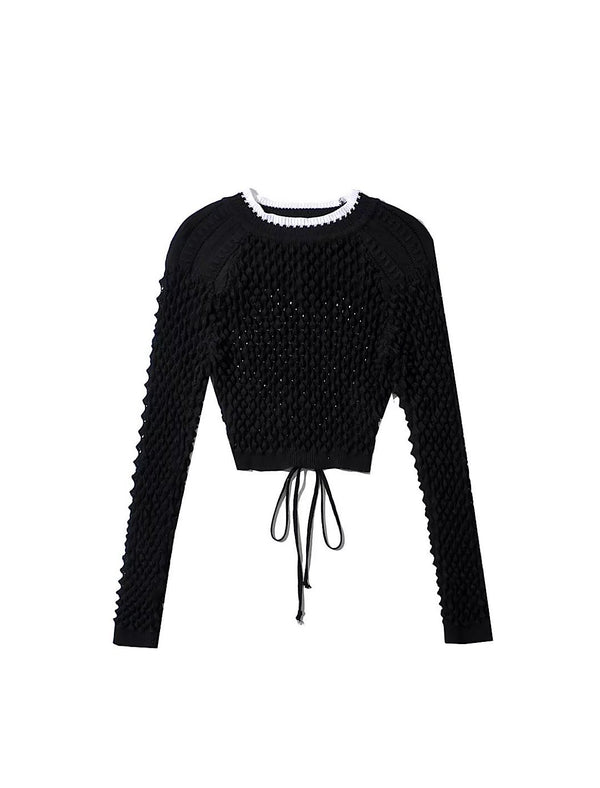 Backless Hollow Out Knit Sweater - Beyazura.com