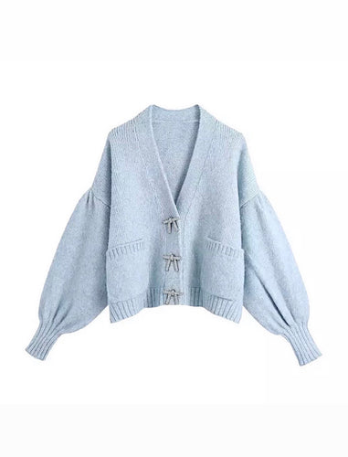 Blue Cozy Loose Sleeve Sweater With Rhinestone Buttons - BEYAZURA.COM