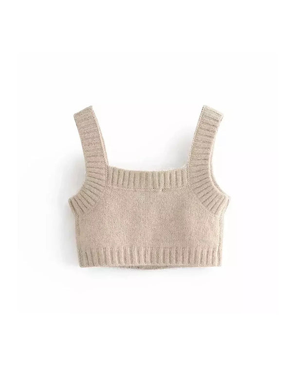 Beige Cropped Cozy Sweater Top With Rhinestone Buttons - Beyazura.com