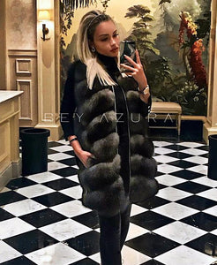 Long Fox Fur Vest - BEYAZURA.COM