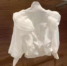 Load image into Gallery viewer, White Luxury Flared Detailed Blouse Jacket - BEYAZURA.COM